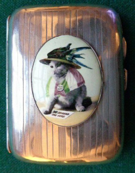 Antique English Anti Suffragette Enamel of Cat Solid Silver Cigarette Case Votes
